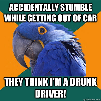 Accidentally stumble while getting out of car They think I'm a drunk driver! - Accidentally stumble while getting out of car They think I'm a drunk driver!  Paranoid Parrot