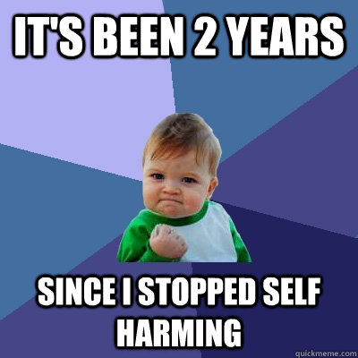It's been 2 years since i stopped self harming - It's been 2 years since i stopped self harming  Success Kid