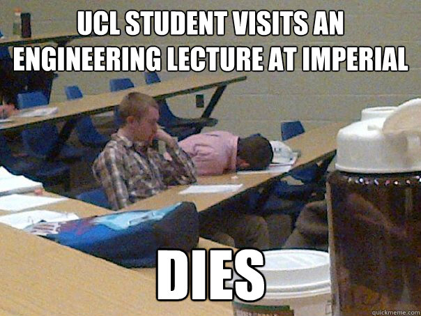 UCL student visits an engineering lecture at Imperial Dies