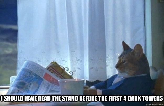I should have read the stand before the first 4 Dark Towers -  I should have read the stand before the first 4 Dark Towers  Sophisticated Cat
