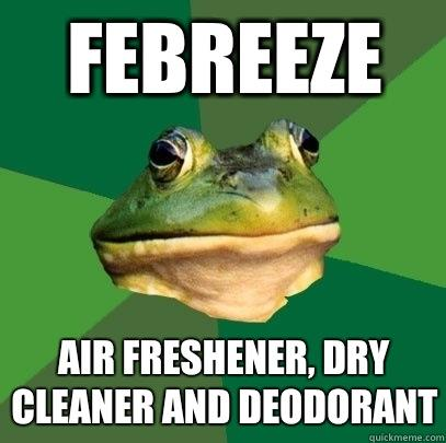 Febreeze Air freshener, dry cleaner and deodorant - Febreeze Air freshener, dry cleaner and deodorant  Foul Bachelor Frog