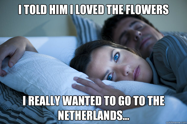 I told him I loved the flowers I really wanted to go to The Netherlands... - I told him I loved the flowers I really wanted to go to The Netherlands...  Sleeping Husband