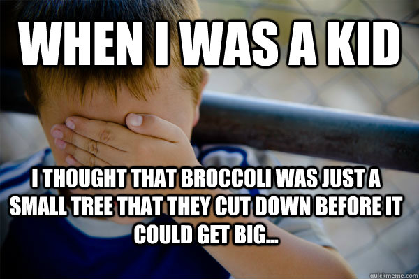 When i was a kid I thought that broccoli was just a small tree that they cut down before it could get big...  - When i was a kid I thought that broccoli was just a small tree that they cut down before it could get big...   Confession kid