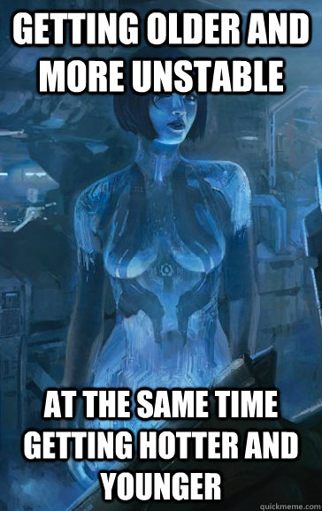 GETTING OLDER AND MORE UNSTABLE AT THE SAME TIME GETTING HOTTER AND YOUNGER  Scumbag Cortana