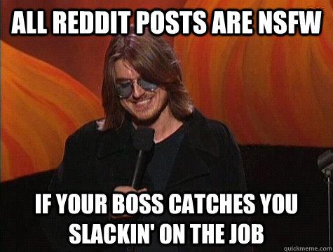 6e2711dec5f81825ff3f26998c0064cd068cb2ddb8a5d061c5a015f3dc998e34 all reddit posts are nsfw if your boss catches you slackin' on the,Mitch Hedberg Memes