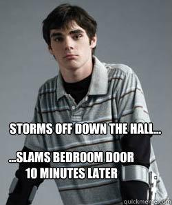 6e2a69028c31d0a02deeca653f246f81d52b80e360e829c55bd52d24214f7530 storms off down the hall slams bedroom door 10 minutes later