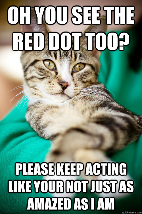 oh you see the red dot too? Please keep acting like your not just as amazed as I am - oh you see the red dot too? Please keep acting like your not just as amazed as I am  Misc