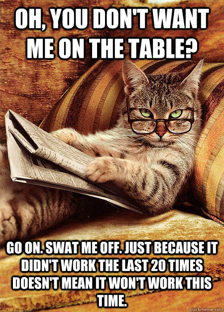 Oh, you don't want me on the table? Go on. Swat me off. Just because it didn't work the last 20 times doesn't mean it won't work this time.