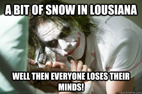 A bit of snow in lousiana well then everyone loses their minds!