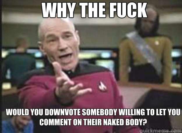 Why the fuck would you downvote somebody willing to let you comment on their naked body?  - Why the fuck would you downvote somebody willing to let you comment on their naked body?   What the Fuck