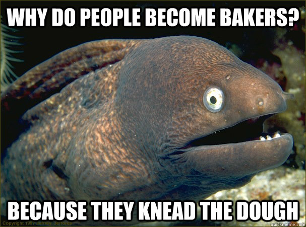 Why do people become bakers? because they knead the dough - Why do people become bakers? because they knead the dough  Bad Joke Eel