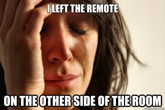 I left the remote on the other side of the room - I left the remote on the other side of the room  First World Problems