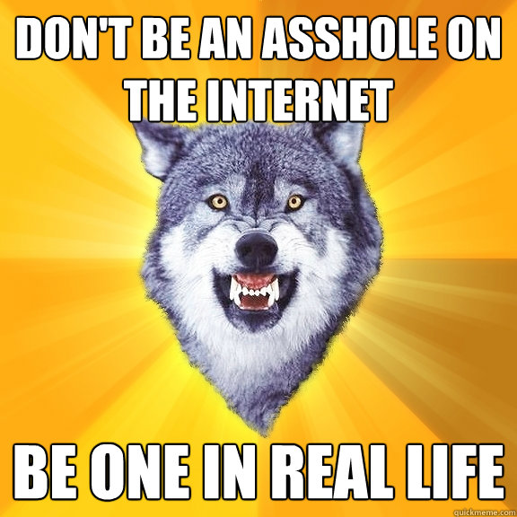 don't be an asshole on the internet be one in real life - don't be an asshole on the internet be one in real life  Courage Wolf