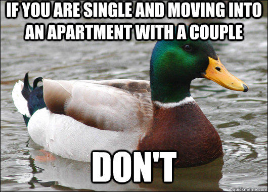 If you are single and moving into an apartment with a couple don't - If you are single and moving into an apartment with a couple don't  Actual Advice Mallard