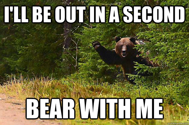 I'll be out in a second bear with me - I'll be out in a second bear with me  waving bear