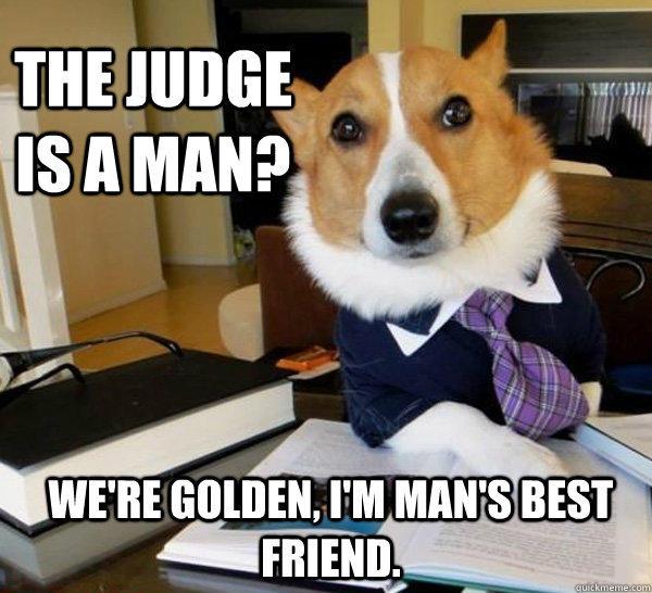The judge is a man? we're golden, i'm man's best friend.  - The judge is a man? we're golden, i'm man's best friend.   Lawyer Dog