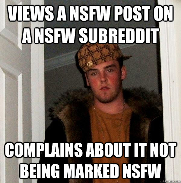 Views a NSFW post on a NSFW subreddit complains about it not being marked NSFW - Views a NSFW post on a NSFW subreddit complains about it not being marked NSFW  Scumbag Steve