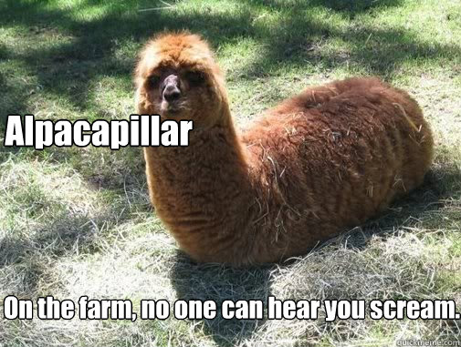 Alpacapillar On the farm, no one can hear you scream.  Alpacapillar