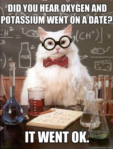 Did you hear oxygen and potassium went on a date? It went ok.  Chemistry Cat