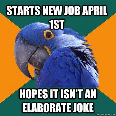 Starts new job April 1st Hopes it isn't an elaborate joke - Starts new job April 1st Hopes it isn't an elaborate joke  Paranoid Parrot