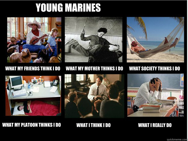 Young Marines What my friends think I do What my mother thinks I do What society thinks I do What my Platoon thinks I do What I think I do What I really do  What People Think I Do