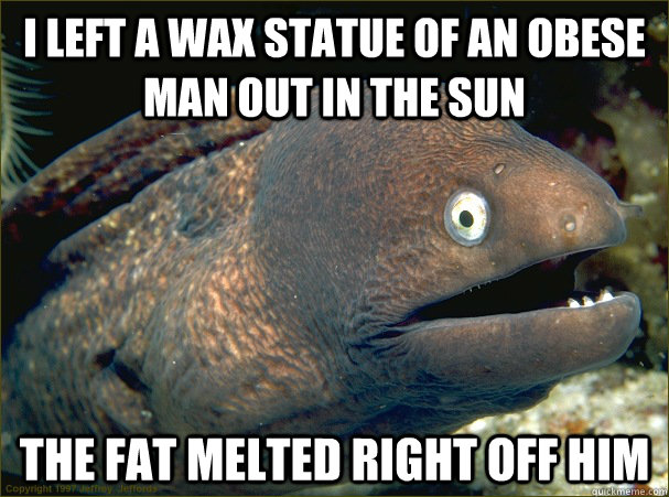 i left a wax statue of an obese man out in the sun the fat melted right off him - i left a wax statue of an obese man out in the sun the fat melted right off him  Bad Joke Eel