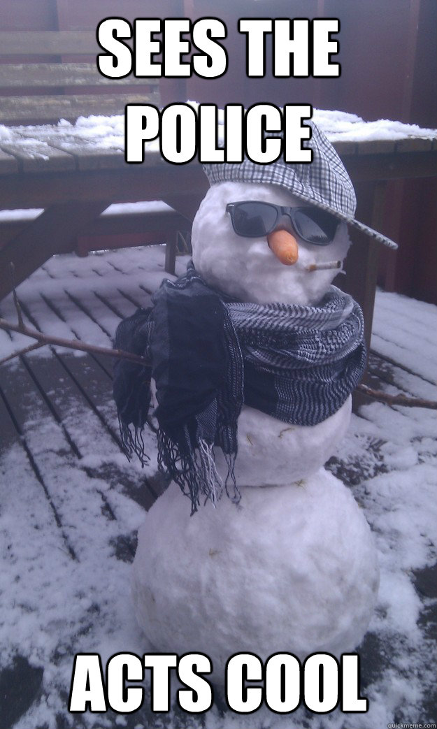 sees the police acts cool  bob the hipster snowman