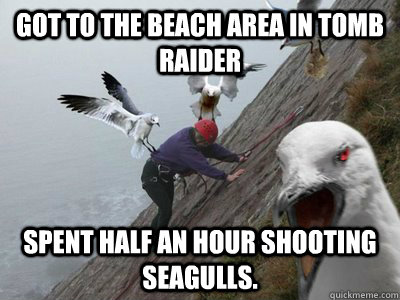 Got to the beach area in Tomb Raider Spent half an hour shooting seagulls.