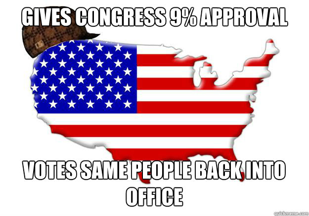 Gives Congress 9% approval votes same people back into office - Gives Congress 9% approval votes same people back into office  Scumbag america