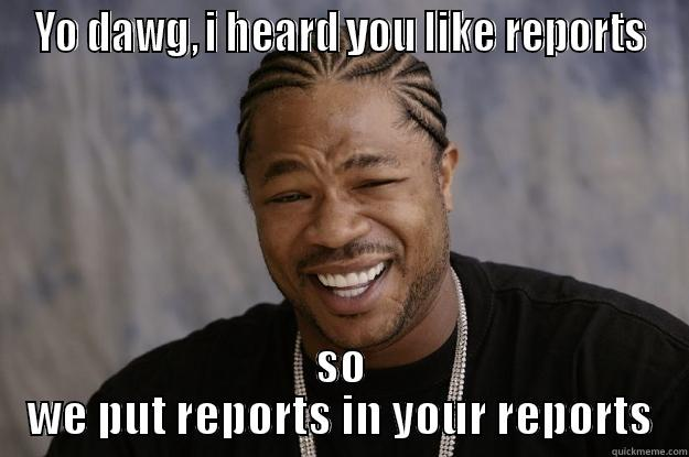 Reports Reports Reports - Go Deeper! - YO DAWG, I HEARD YOU LIKE REPORTS SO WE PUT REPORTS IN YOUR REPORTS Xzibit meme