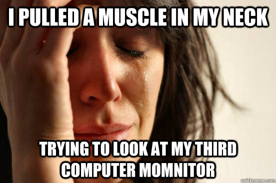 i pulled a muscle in my neck trying to look at my third computer momnitor  First World Problems