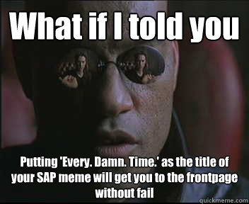 What if I told you Putting 'Every. Damn. Time.' as the title of your SAP meme will get you to the frontpage without fail - What if I told you Putting 'Every. Damn. Time.' as the title of your SAP meme will get you to the frontpage without fail  Morpheus SC