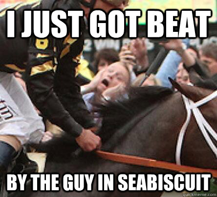 I JUST GOT BEAT BY THE GUY IN SEABISCUIT  Preakness Photobomb Guy