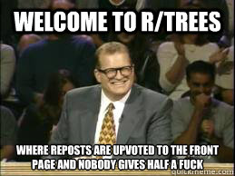 welcome to r/trees where reposts are upvoted to the front page and nobody gives half a fuck