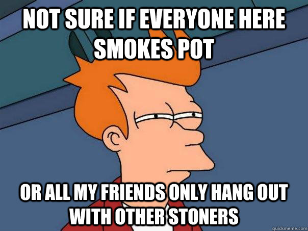 Not sure if everyone here smokes pot Or all my friends only hang out with other stoners - Not sure if everyone here smokes pot Or all my friends only hang out with other stoners  Futurama Fry