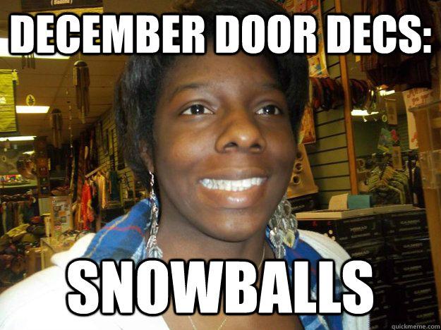 December door decs: Snowballs