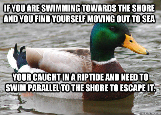 If you are swimming towards the shore and you find yourself moving out to sea Your caught in a riptide and need to swim parallel to the shore to escape it. - If you are swimming towards the shore and you find yourself moving out to sea Your caught in a riptide and need to swim parallel to the shore to escape it.  Actual Advice Mallard