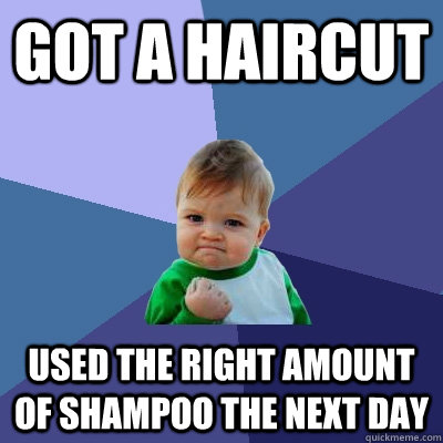 Got a haircut Used the right amount of shampoo the next day - Got a haircut Used the right amount of shampoo the next day  Success Kid