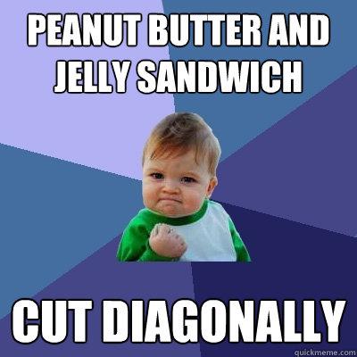 Peanut Butter and Jelly sandwich cut diagonally - Peanut Butter and Jelly sandwich cut diagonally  Success Kid