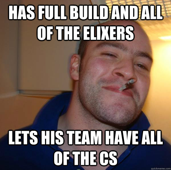 Has full build and all of the elixers lets his team have all of the cs - Has full build and all of the elixers lets his team have all of the cs  Misc