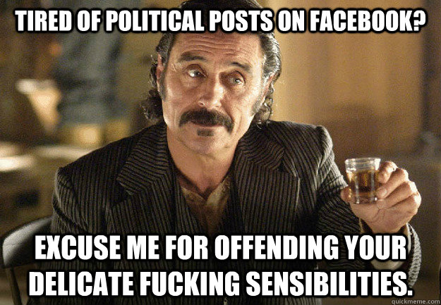 6fc22dc670cf9ce47fbb0afdc8946f2cb17c5cd31893dba9d1de8b46a6234657 tired of political posts on facebook? excuse me for offending your,Political Posts Meme