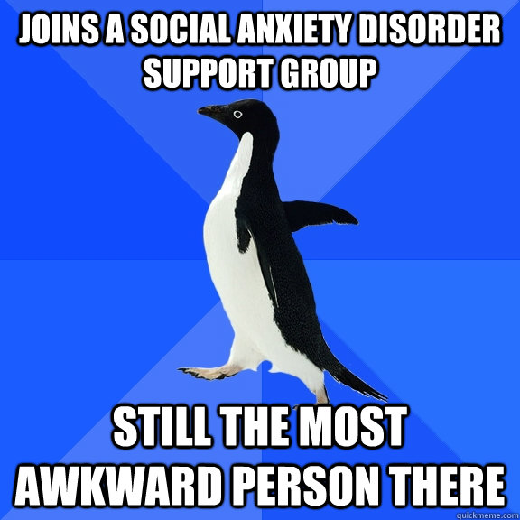 Joins a Social Anxiety Disorder support group Still the most awkward person there - Joins a Social Anxiety Disorder support group Still the most awkward person there  Socially Awkward Penguin