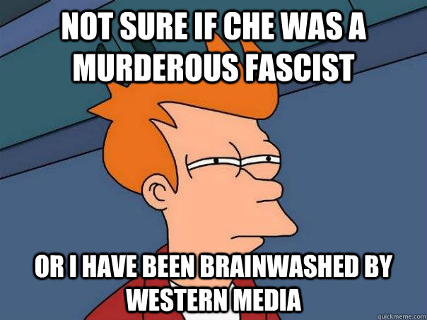 Not sure if Che was a murderous fascist  Or I have been brainwashed by western media  Futurama Fry