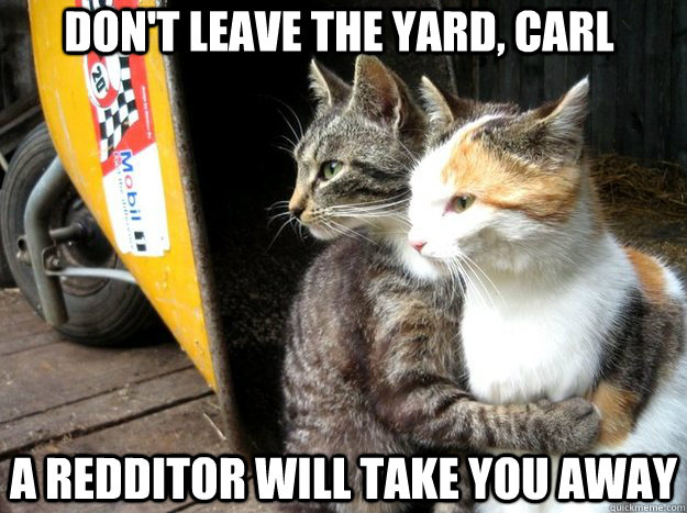 Don't leave the yard, Carl A redditor will take you away