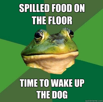 Spilled food on  the floor Time to wake up  the dog - Spilled food on  the floor Time to wake up  the dog  Foul Bachelor Frog