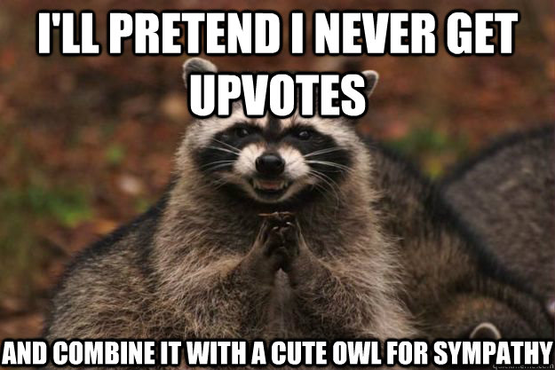 I'll pretend I never get upvotes and combine it with a cute owl for sympathy - I'll pretend I never get upvotes and combine it with a cute owl for sympathy  Evil Plotting Raccoon