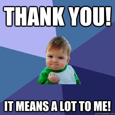 Thank you! it means a lot to me! - Thank you! it means a lot to me!  Success Kid