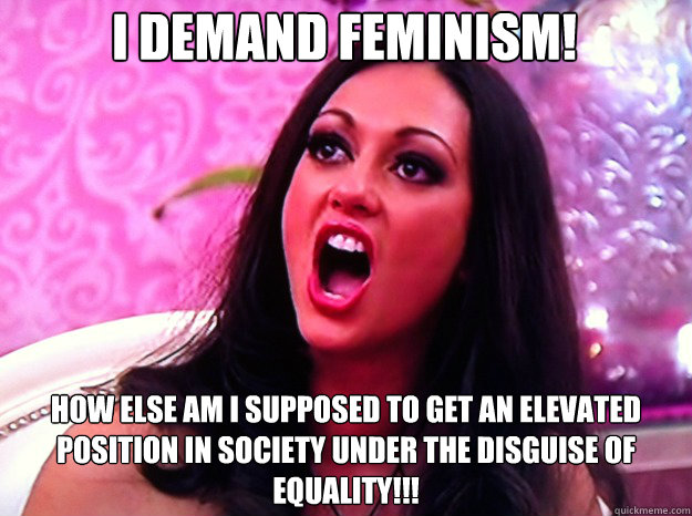 I demand feminism! How else am I supposed to get an elevated position in society under the disguise of equality!!! - I demand feminism! How else am I supposed to get an elevated position in society under the disguise of equality!!!  Feminist Nazi