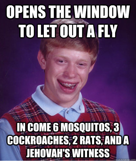 opens the window to let out a fly in come 6 mosquitos, 3 cockroaches, 2 rats, and a jehovah's witness - opens the window to let out a fly in come 6 mosquitos, 3 cockroaches, 2 rats, and a jehovah's witness  Bad Luck Brian