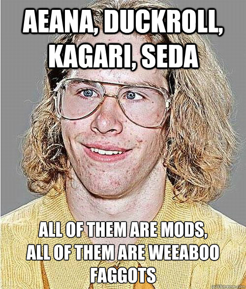 Aeana, Duckroll, Kagari, Seda All of them are mods, all of them are weeaboo faggots  NeoGAF Asshole